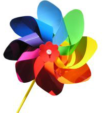 rainbow-colored pinwheel