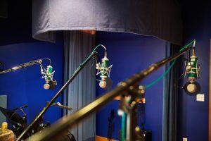 3 microphones in studio